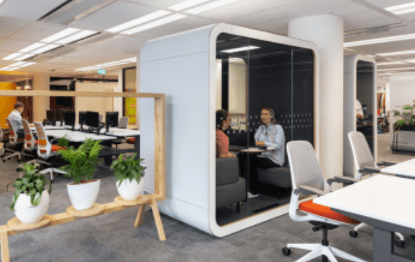 Private meeting in a privacy pod